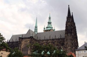 St. Vitus Cathedral in Prague Castle; begun in 1344 AD, it was not completed until 1929 AD.