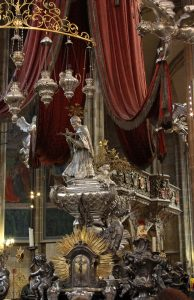 The silver tomb of St. John of Nepomuk - the saint of Bohemia who was drowned in the Vltava River at the behest of Wenceslaus, King of the Romans and King of Bohemia.