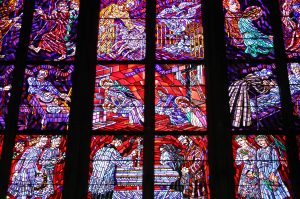 A stained-glass window inside the cathedral.