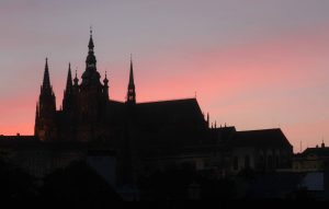 St. Vitus Cathedral at dusk.