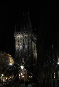The Powder Tower at night; this is one of the original city gates and dates back to the 11th-century AD.