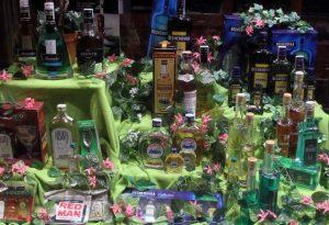 Bottles of Absinthe, Becherovka, and Slivovitz.