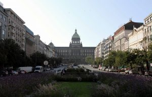 Wenceslas Square with the National Museum of Prague at the end.