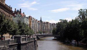 Buildings along the Vltava River (on Masarykovo nábřeží street), seen from the Most Legií Bridge.