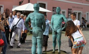 'Piss' by David Černý, a sculpture with animatronic phalli and pelvises - located next to the Kafka Museum.