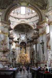 The interior of St. Nicholas Church in the Lesser Town of Prague.