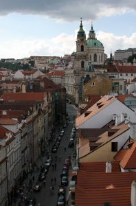 Mostecká street and St. Nicholas Church, seen from the Little Quarter Bridge Tower.