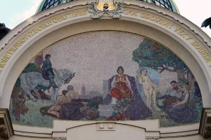 The mosaic above the entrance of the Municipal House.
