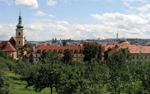 The Church of Our Lady Victorious (on the left) seen from Petrin Park.