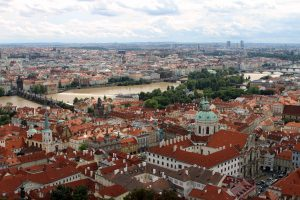 Looking southeast at St. Nicholas Church and Charles Bridge from the Great South Tower.