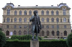 Statue of Antonín Dvořák (a Czech composer) in front of the Academy of the Arts.