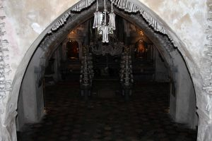 Inside the Sedlec Ossuary, which is estimated to contain the skeletons of 40,000-70,000 people.