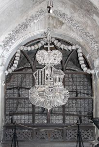 The Schwarzenberg coat-of-arms made with human bones.