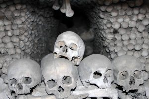 Skulls and piles of bones inside the ossuary - the bones were put together in their present state by František Rint, a woodcarver, in the late 19th-century AD.