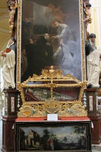 The relics of Saint Felix on display inside the Church of the Assumption of Our Lady and Saint John the Baptist.
