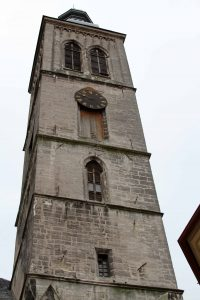 The bell tower of the Church of St. James.