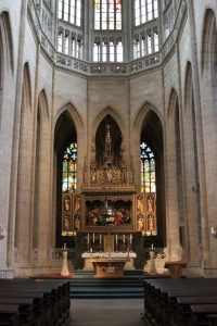 The altar inside St. Barbara's Church.