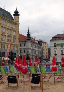 A beach set up in Freedom Square in Brno.