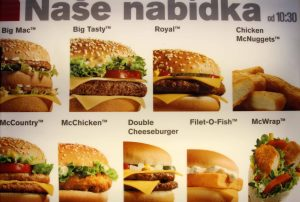 Menu for McDonald's in the Czech Republic.