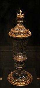 A crystal goblet.