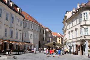 Looking down Ventúrska street in Bratislava's Old Town.