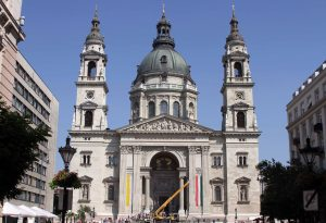 The façade of St. Stephen's Basilica; built in 1905 AD, it is named after Saint Stephen I of Hungary.