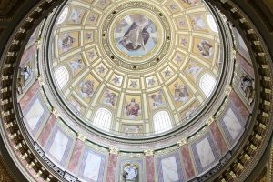 The interior of the main dome inside St. Stephen's Basilica.