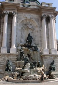"Matthias Fountain in the western forecourt of the Royal Palace (also known as the ""Buda Castle"")."