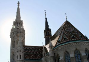 The roof and bell tower of Matthias Church.