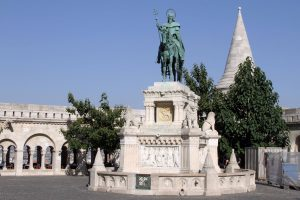 Bronze statue of Saint Stephen I of Hungary, located between Fisherman's Bastion and Matthias Church.