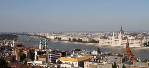 The Danube River with the Hungarian Parliament Building in view (on the Pest side).