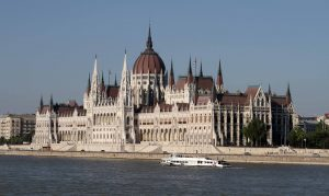 Closeup of the Hungarian Parliament Building.