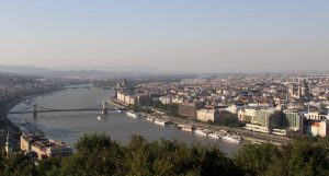 The Blue Danube and the Chain Bridge, seen from the Gellért Hill citadel.