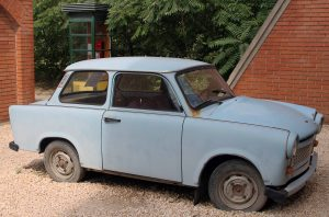A Trabant car in Memento Park - this awful car is a great example of communist ingenuity.