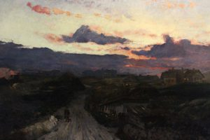 Painting of a village scene at sunset.
