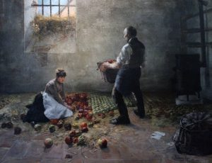 'Gathering Apples' by Lajos Karcsay (1885 AD).