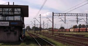 "The railway station at Oswiecim (""Auschwitz"" in German)."