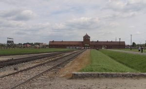 The gate and railroad at Auschwitz II-Birkenau.
