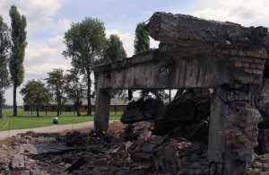 Remains of a crematorium at Auschwitz II-Birkenau; it was demolished by the Nazis in an attempt to cover up their crimes.