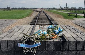 The end of the railroad line in Auschwitz II-Birkenau.