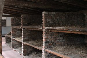 "An example of the type of ""beds"" the prisoners had to sleep on."