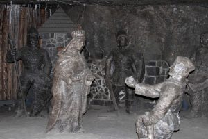 Rock-salt statues inside the Wieliczka Salt Mine.