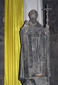 Rock-salt statue of Pope John Paul II inside the Wieliczka Salt Mine.