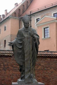 Statue of Pope John Paul II outside of Wawel Cathedral in Kraków.