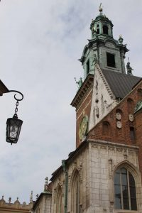 Looking up at the Clock Tower at Wawel Cathedral.