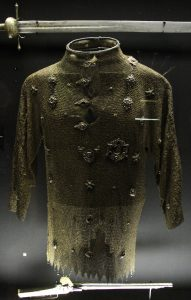 Chain-link armor on display inside the Wawel Castle museum.