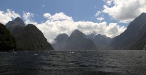 Milford Sound, seen from the boat transporting hikers from Sandfly Point to the Milford Sound Village.