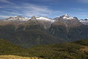 Mounts Lyttle, Gunn, and Gifford (left-to-right) in the Darran Mountain Range.