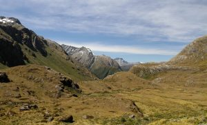 Continuing along the alpine terrain toward Routeburn Falls Hut.
