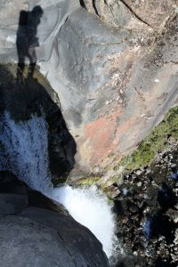 Looking down at Taranaki Falls.